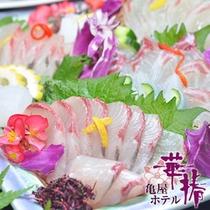 鮮度抜群の天草地魚のお造り。天草の魚は甘みが違います。