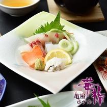 【旬の海の幸会席】鮮度抜群の天草地魚のお造り。天草の魚は甘みが違います。