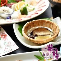 【四郎の宴】あわびの陶板焼き。