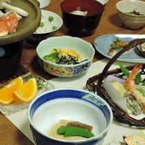 *<夕食一例>女将自慢の自家菜園で作った食材を使っています!