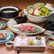*【夕食一例:七栗コース】国産牛ロース鉄板焼きがメイン