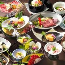 【当館最高ランクの夕食「煌き会席」】料理長が腕を振るう、素材・料理内容ともにグレードアップ!