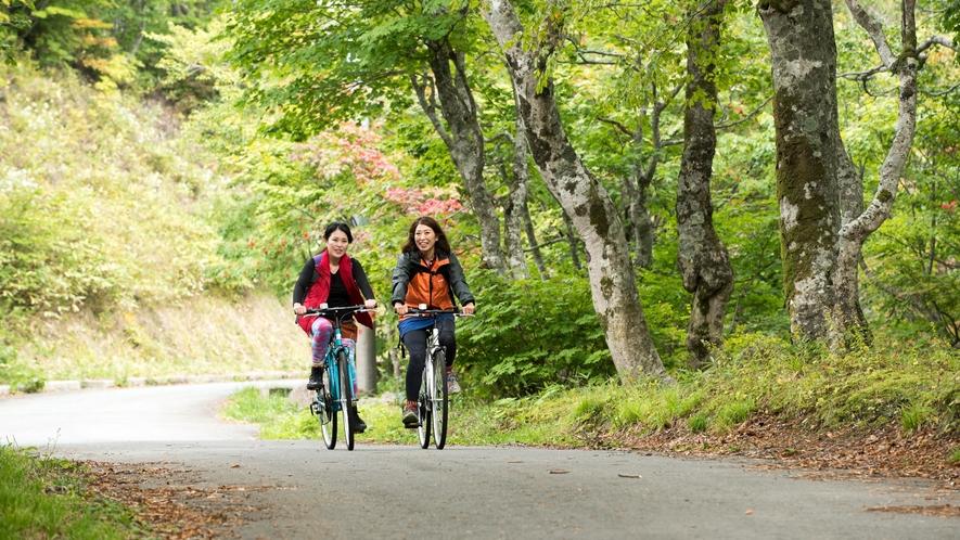 【サイクリング体験】アクティビティに「山岳総合リゾート・蔵王温泉」を満喫!高原の澄んだ空気を楽しむ