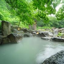 渓流沿い、夏の景色に包まれる混浴大露天風呂