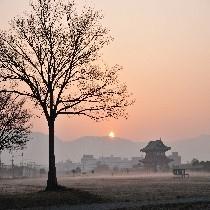 朝靄に包まれる平城宮跡