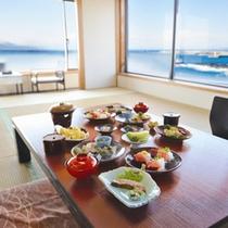 *お部屋(個室)にてごゆっくりとお食事をお楽しみ下さい。(日帰りプラン昼食一例)