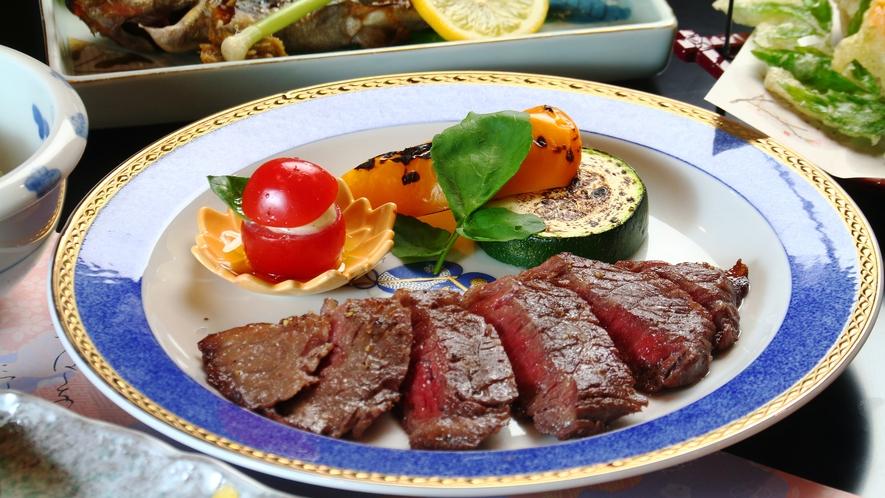 ◆【料理】スタンダード・グレードアップお料理一例。蓼科牛と季節野菜のグリル