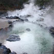 【西の河原公園】光の加減によって、エメラルドグリーン色に見える温泉の池!