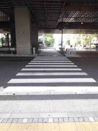 高速道路下の横断歩道を渡り、奥の橋を渡って下さい。