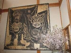 (3)【玄関の大版画】獅子舞(1.8m×1.8m)日影義朗先生