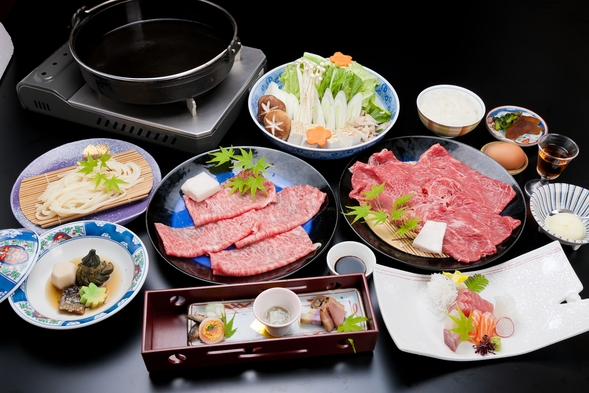 【丑年に美味しいお肉でモ〜満足】【ブランド牛食べ比べ】<松阪肉×伊賀肉>特製割り下のすき焼でご堪能♪