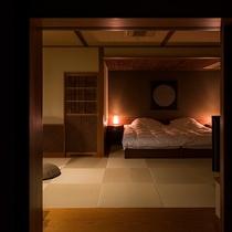 露天風呂付客室 ~居待ち月~ ベッドルーム