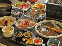 【夕食一例・極上プラン】品数豊富な極上プラン。むかわの味覚をご堪能ください。
