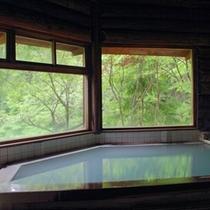 【丸太造りの温泉浴場】蔵王の自然の美しさを眺めながら、源泉掛け流しの湯で心身ともに癒される
