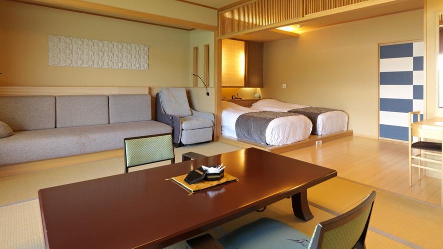 【別館】和洋室 一例/阿寒湖を望む、高層階の和洋室です。阿寒の四季をお愉しみください。