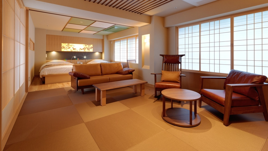 【こもれび】ジェットバス付デラックス和洋室/広々とした空間で、安らぎのひとときをお過ごしください。