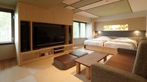【こもれび】ジェットバス付和洋室/畳にはソファをご用意。ゆったりとした寛ぎ時間をお過ごしください。