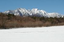 キープ牧場からの冬の権現岳