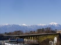 清里大橋と甲斐駒ヶ岳