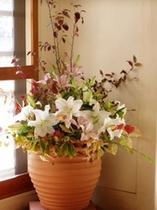 玄関に入ったら季節の花がお迎えします