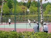 5月のテニスコートに高原の新緑が光に映える