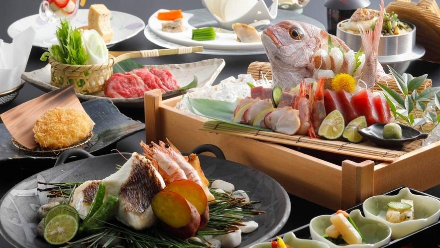 郷土料理「宝楽焼」と淡路牛、鯛のお造りなど淡路島で食べるならコレ!(一例)※宝楽焼・お造りは2名盛
