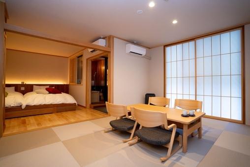 【源泉かけ流し檜風呂付】スイートルーム50平米の広い和洋室