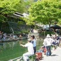 【矢納フィッシングパーク】3月下旬から12月下旬までニジマス釣りが楽しめます。車で8分