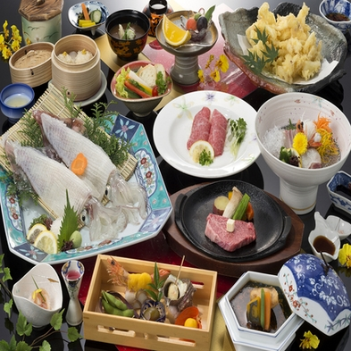 佐賀牛ステーキと活きイカの饗宴(味覚三昧)【個室orお部屋でのご夕食】