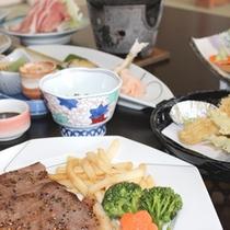 国産牛のステーキと季節のお料理