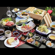 【桜-sakura-】コース一例 お造りが5点盛にグレードアップ♪和牛ステーキも付いて贅沢に