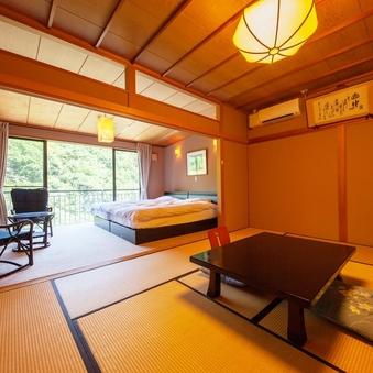 【鶴仙渓を望む和洋室 セミダブル2台+10畳】バリアフリー