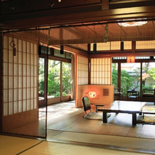 庭園客室「竹の間」夏のしつらい