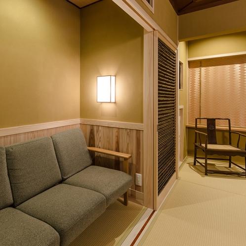 本館10畳+洋室10畳/二階庭側(パテオ付露天風呂・分煙)
