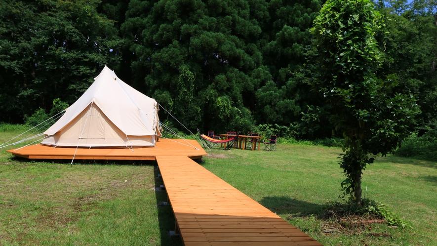 セットの和室のお部屋からそのままテントに行けるようになりました♪