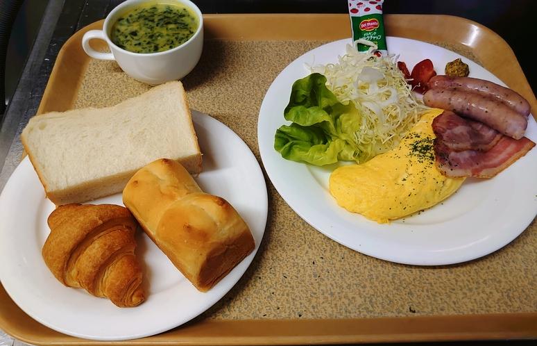 洋定食:パン&オムレツ