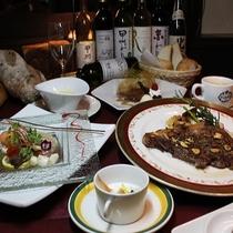 【ご夕食一例】旬の素材を使った本格フレンチコースをごゆっくりお楽しみくださいませ。