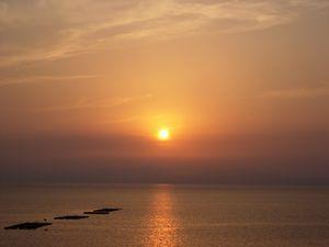 橘湾に沈む夕日