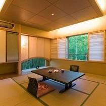 【離れかぐや・寛ぎ処】静けさを妨げぬよう、トーンを抑え、竹の間から注ぐ柔らかな光を感じて下さいませ。
