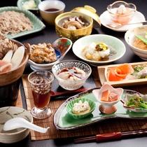 【ご夕食一例】グレードアッププランは、通常のプランに和牛あぶり焼きと手打ち蕎麦が付きます