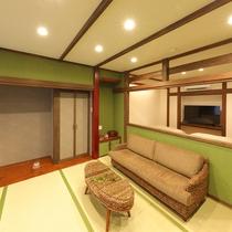 本館1階【くれ竹】8畳和室+6畳洋室(禁煙)シモンズ製ツインベッドと50インチテレビ