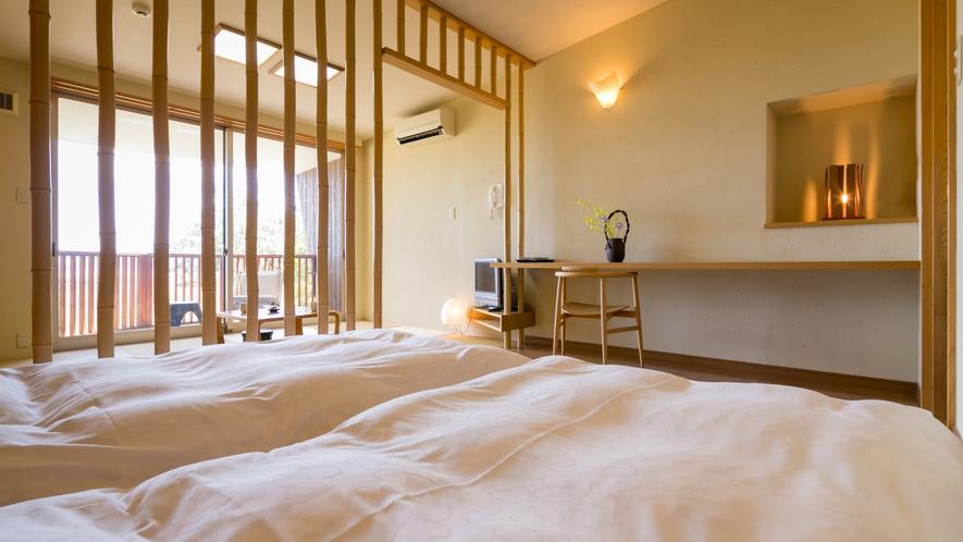 海の見える高台別館の客室・つわぶき】竹を基調としたお部屋。一番の眺望。