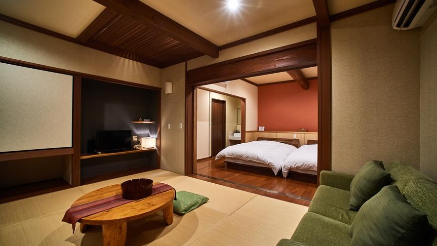 【内風呂付の客室・よもぎ】広々和洋室のお部屋。