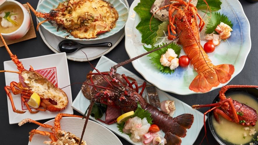 7種類の伊勢海老料理が豪快に並ぶ、極【きわみ】コース