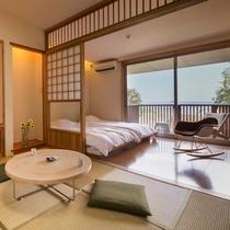 【海の見える高台別館の客室】  ◆珊瑚◆ 珪藻土の白が明るく一番広いお部屋です。