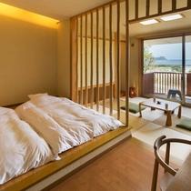 【海の見える高台別館の客室】  ◆つぶわき◆ 竹を基調としたお部屋。一番の眺望です。