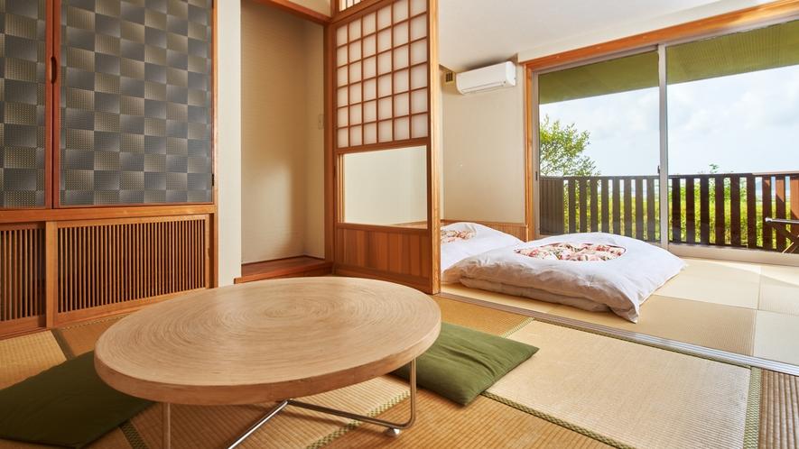 【海の見える高台別館の客室】◆珊瑚◆珪藻土の白が明るく一番広いお部屋です。