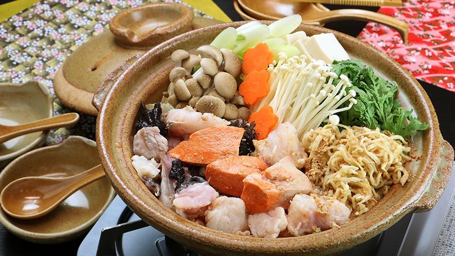 ■ご夕食 冬季限定・あんこう鍋 これぞ『てんこ盛りあんこう鍋』あん肝も身もたっぷりの「食べた気100
