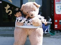 くまに抱っこ!されている息子 ピンク?のテディーベアー