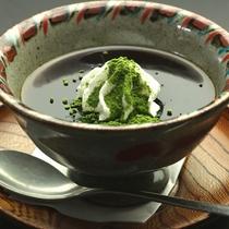 【デザート】黒蜜ゼリー 生クリーム 抹茶